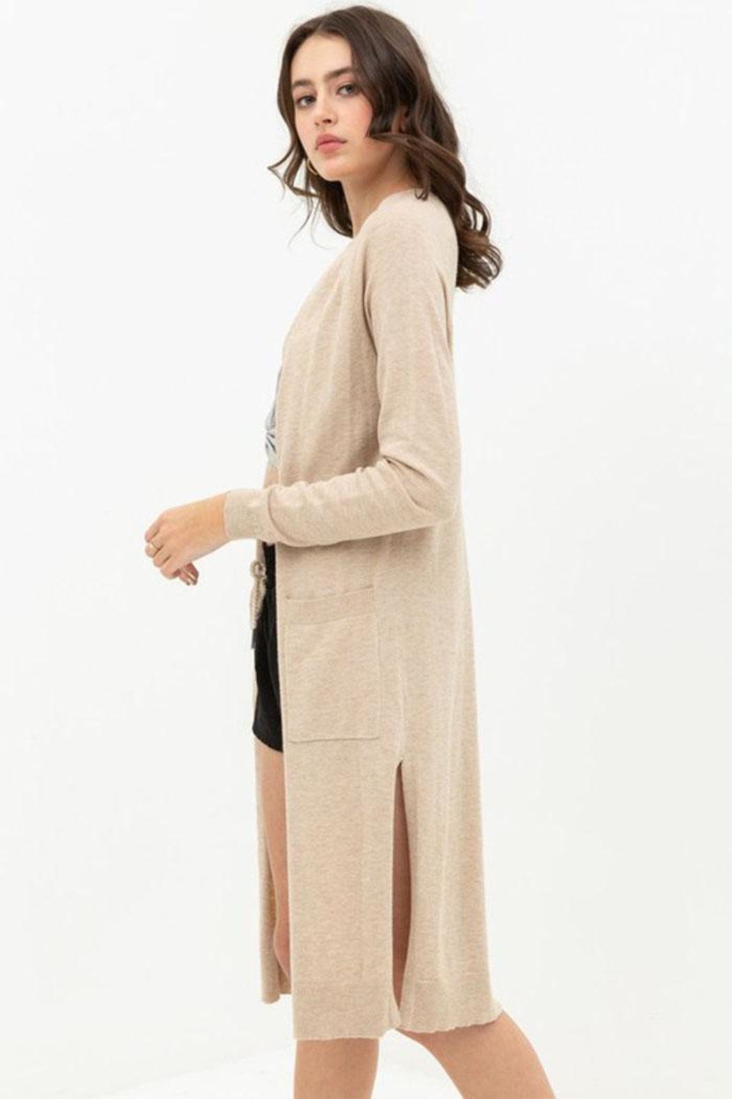 Love Tree Long Duster Cardigan - Side Cropped Image