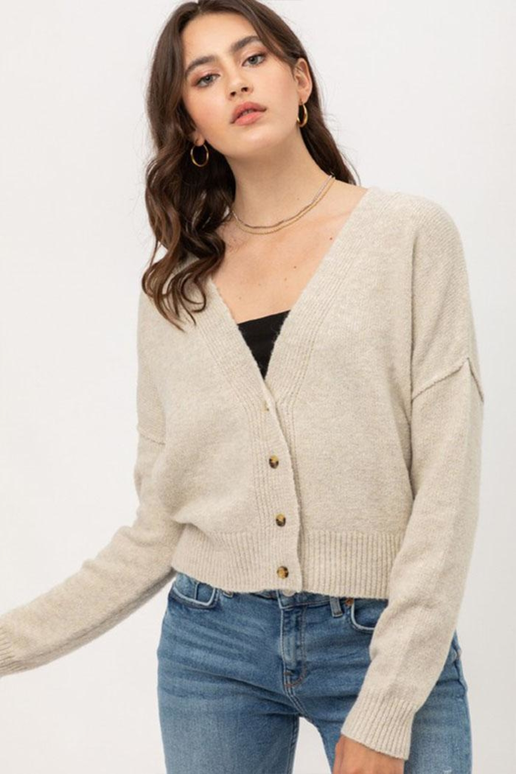 Love Tree Long-Sleeve Button Cardigan - Side Cropped Image