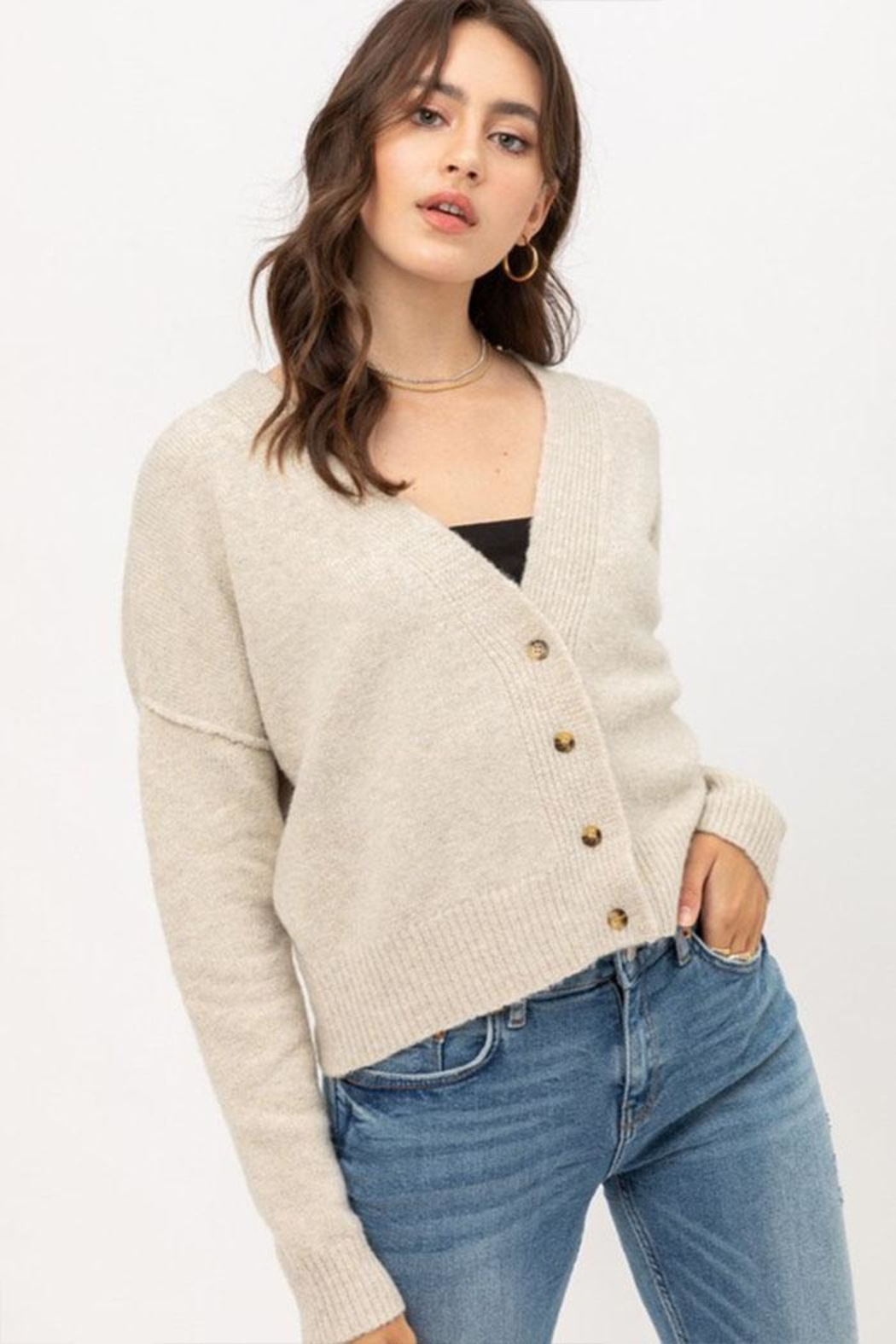Love Tree Long-Sleeve Button Cardigan - Front Cropped Image