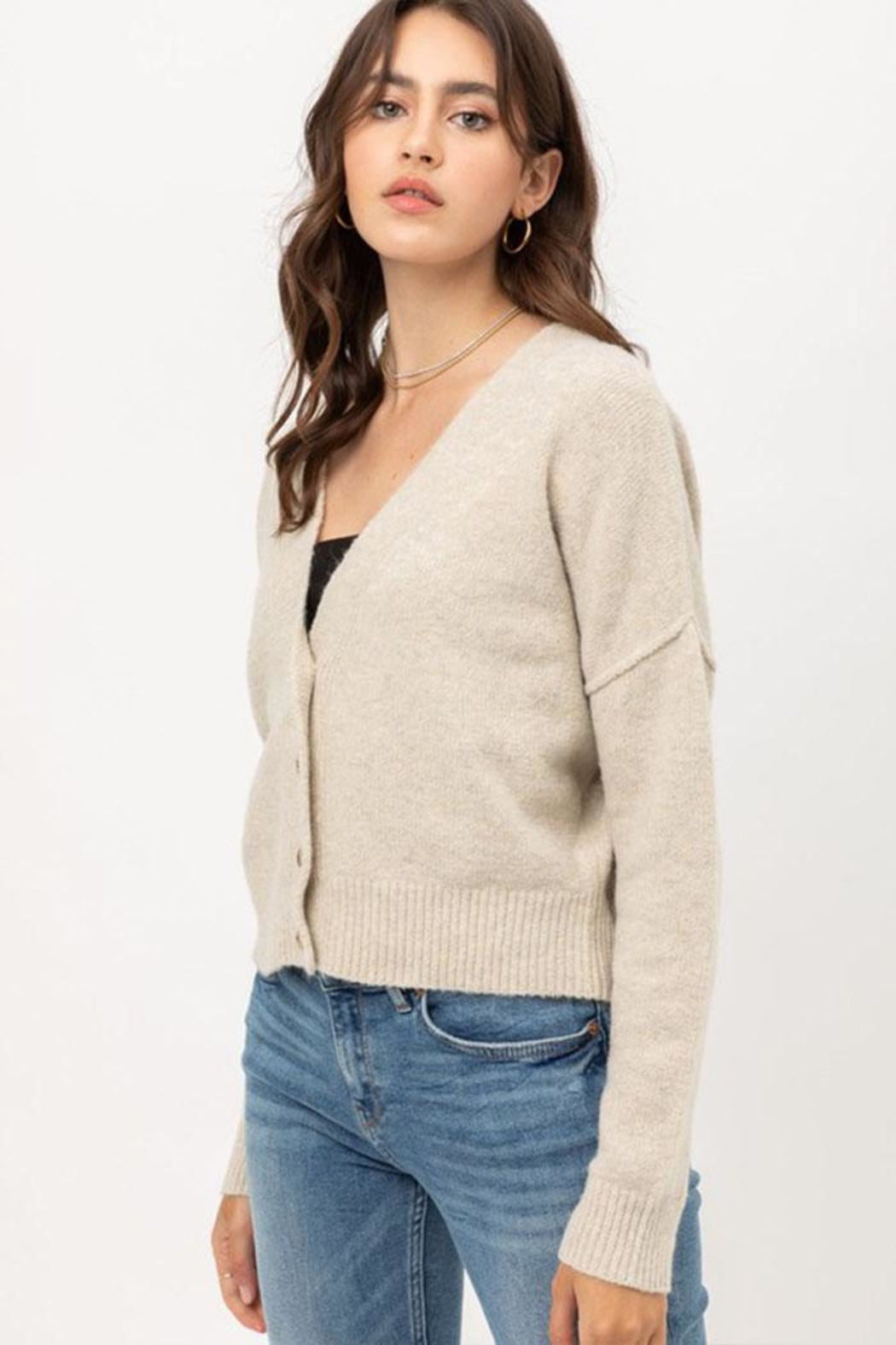 Love Tree Long-Sleeve Button Cardigan - Front Full Image