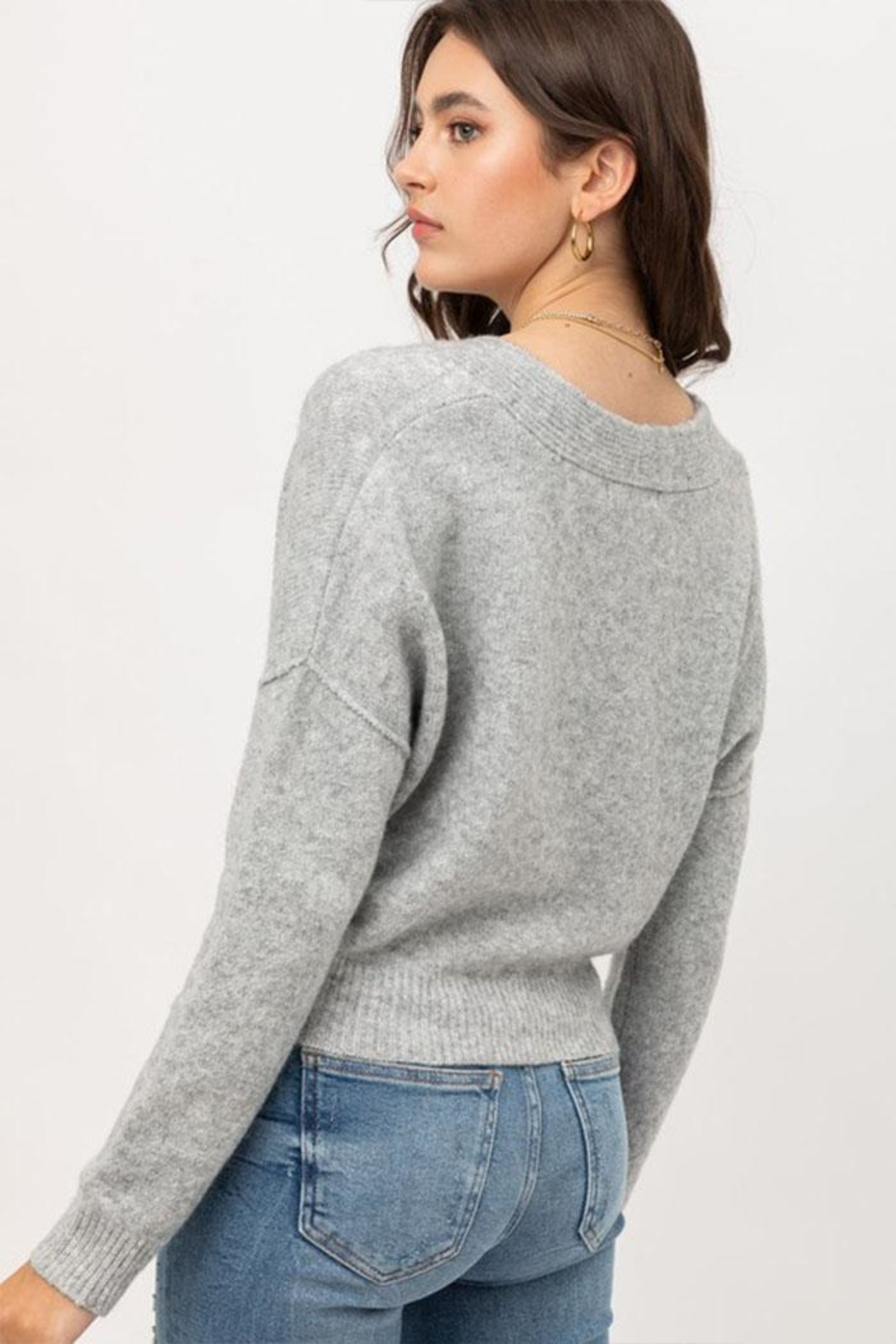 Love Tree Long-Sleeve Button Cardigan - Back Cropped Image