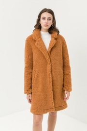 Love Tree Long Teddy Coat - Front cropped
