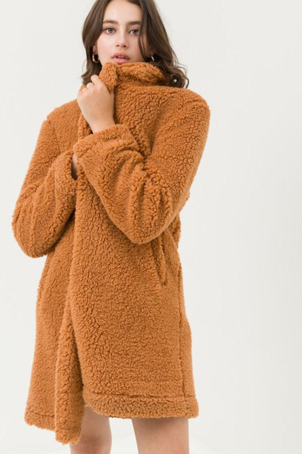 Love Tree Long Teddy Coat - Front Full Image