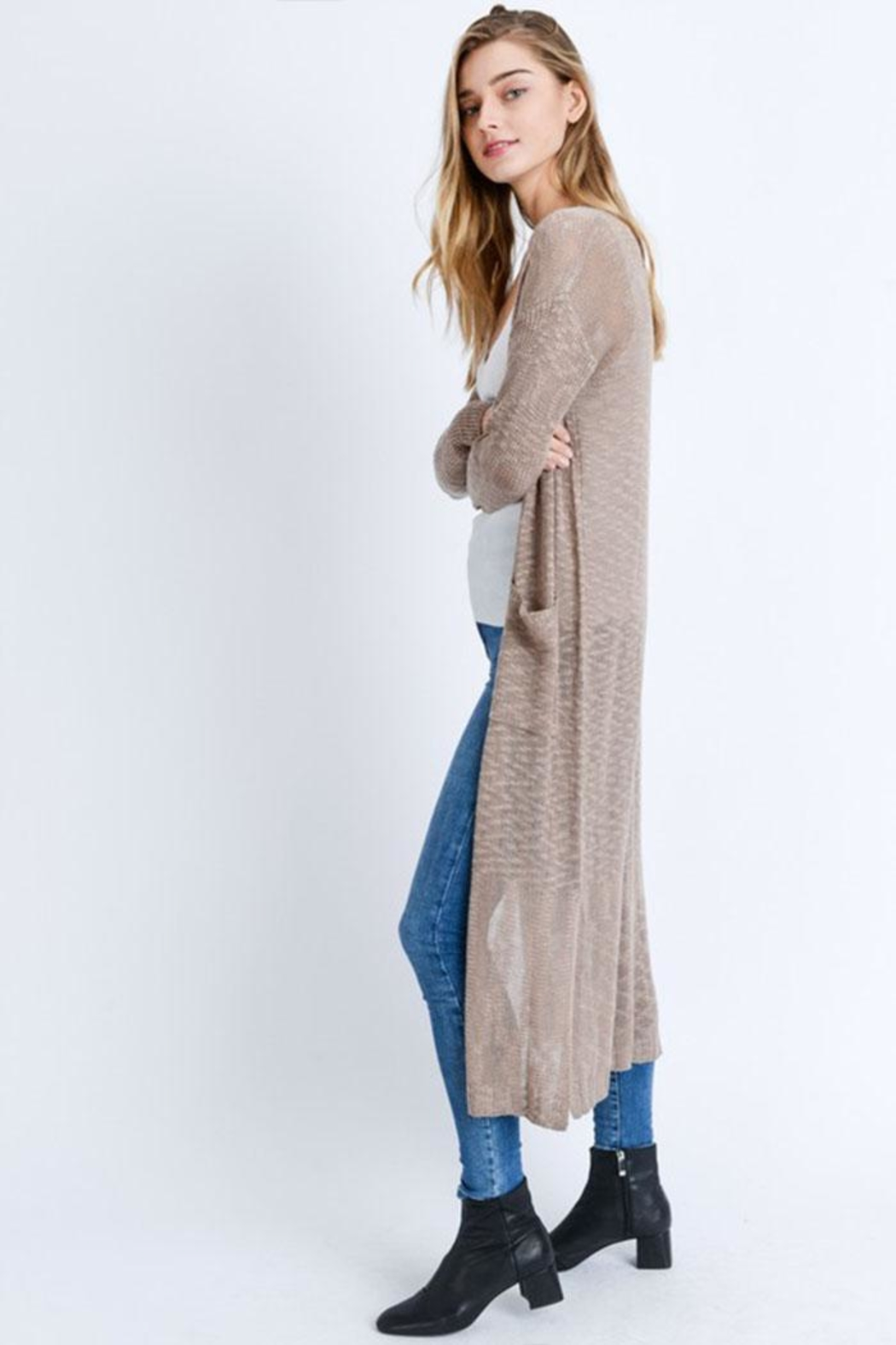 Love Tree Loose Knit Cardigan - Back Cropped Image