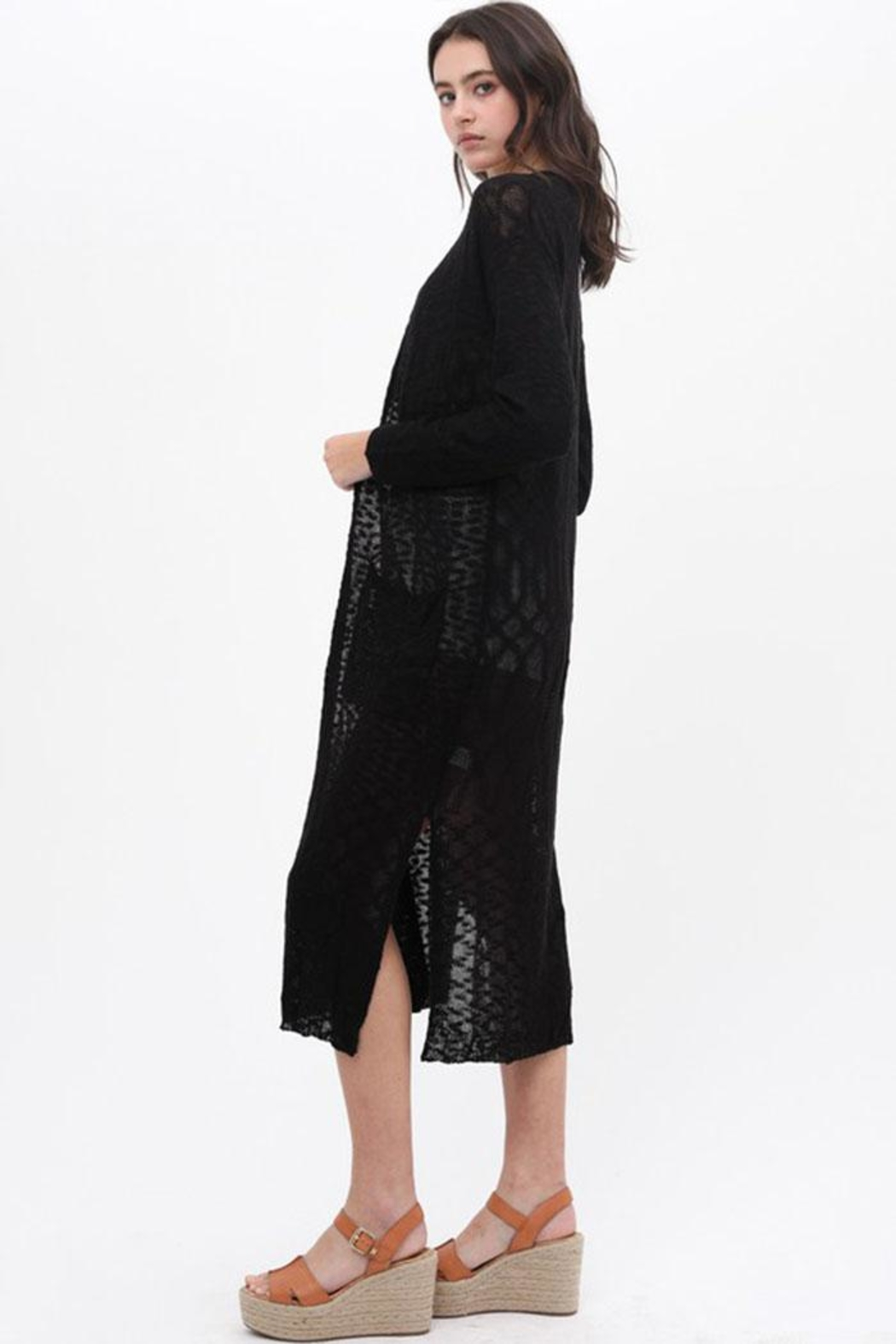 Love Tree Loose Knit Cardigan - Side Cropped Image