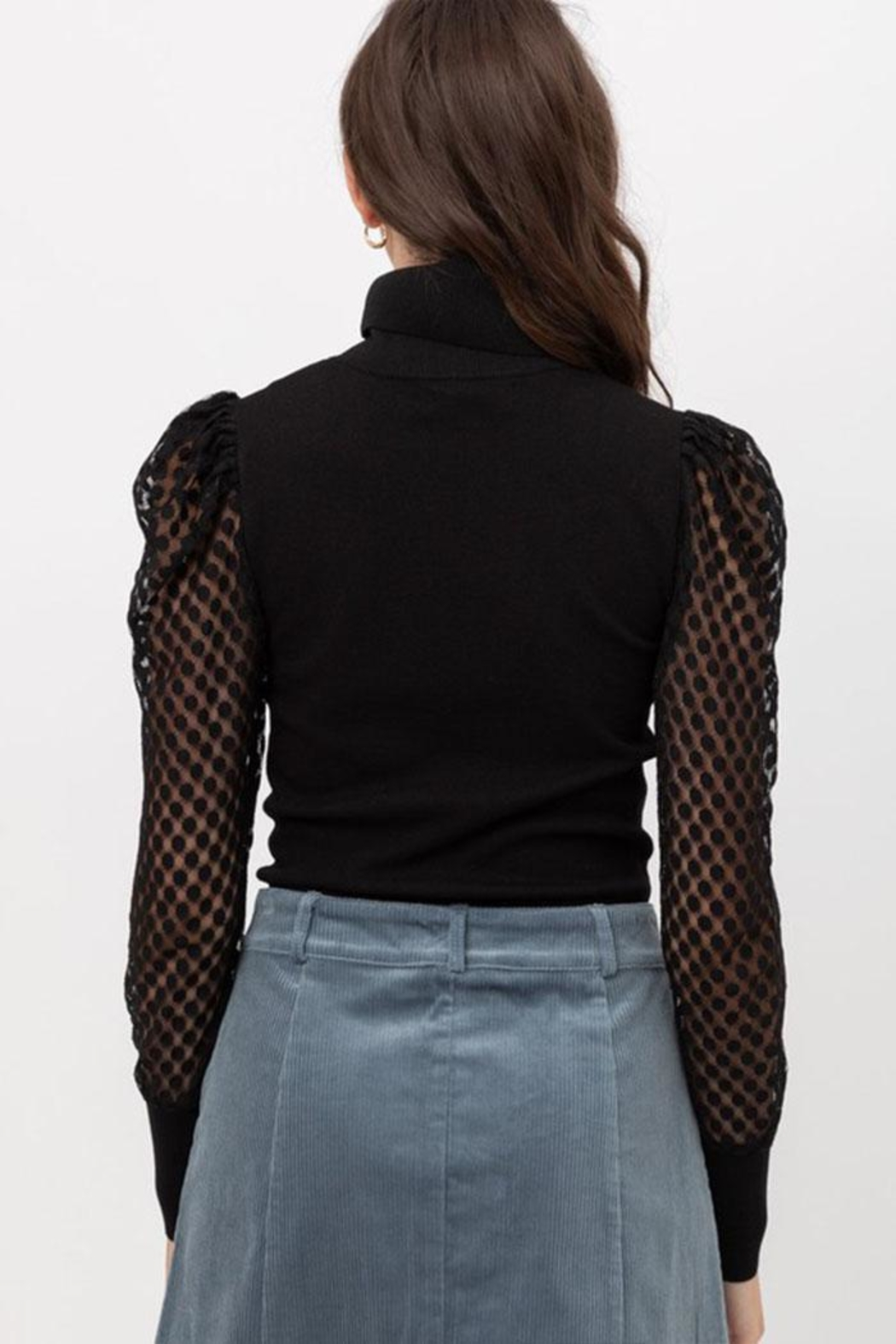 Love Tree Mesh Sleeve Top - Back Cropped Image