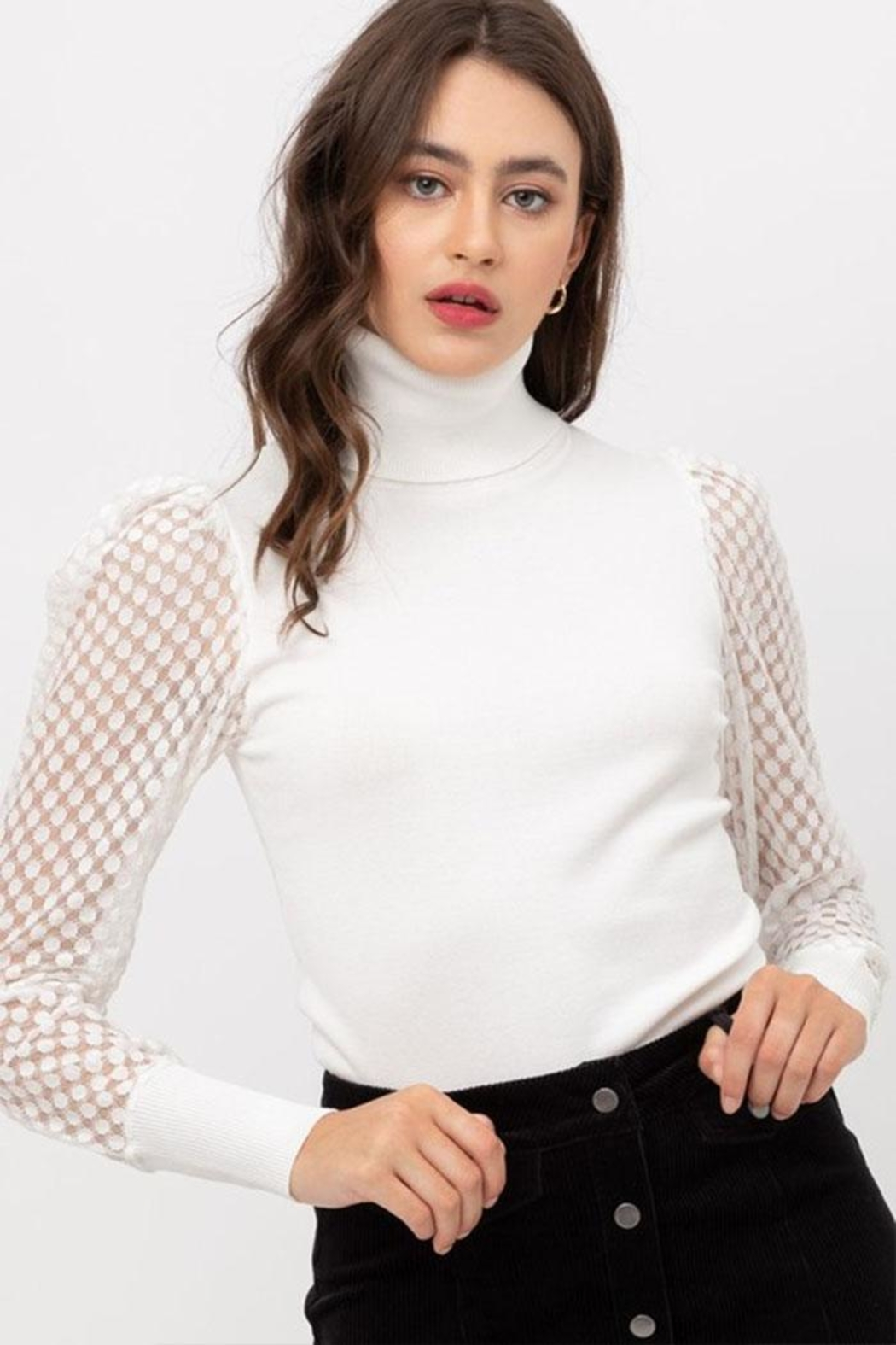 Love Tree Mesh Sleeve Top - Main Image