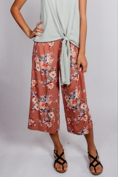 Love Tree Muave-Floral Button Pants - Product List Image