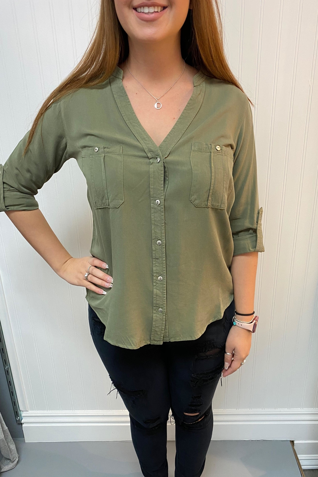 Love Tree Olive Blouse - Main Image