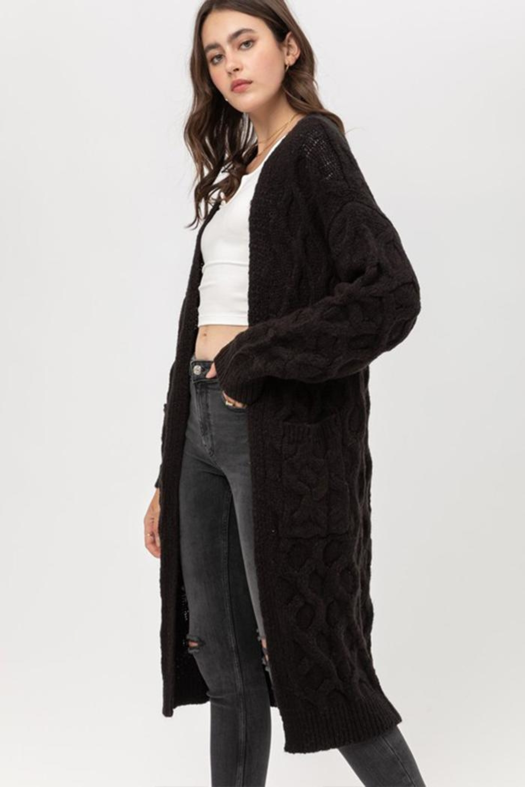 Love Tree Open-Front Cable Cardigan - Front Full Image