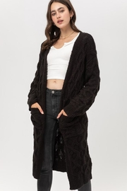 Love Tree Open-Front Cable Cardigan - Front cropped