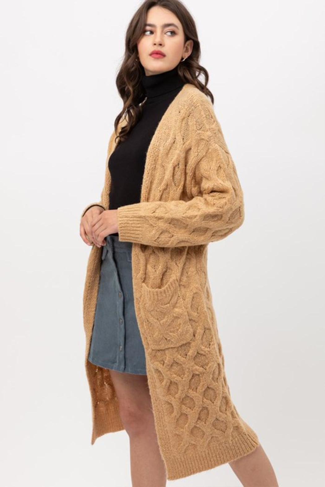 Love Tree Open-Front Cable Cardigan - Main Image