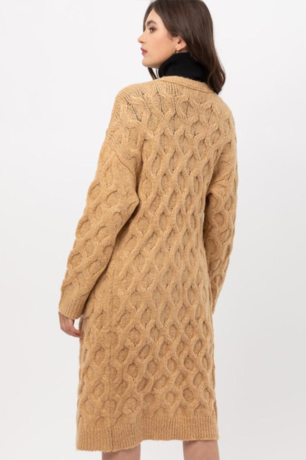 Love Tree Open-Front Cable Cardigan - Back Cropped Image