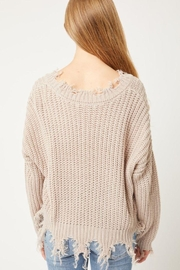 Love Tree Oversized Ripped Fringed Sweater Top - Front full body
