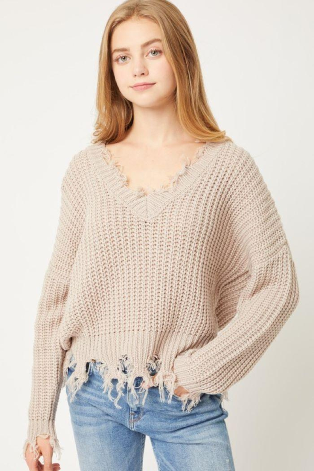 Love Tree Oversized Ripped Fringed Sweater Top - Front Cropped Image