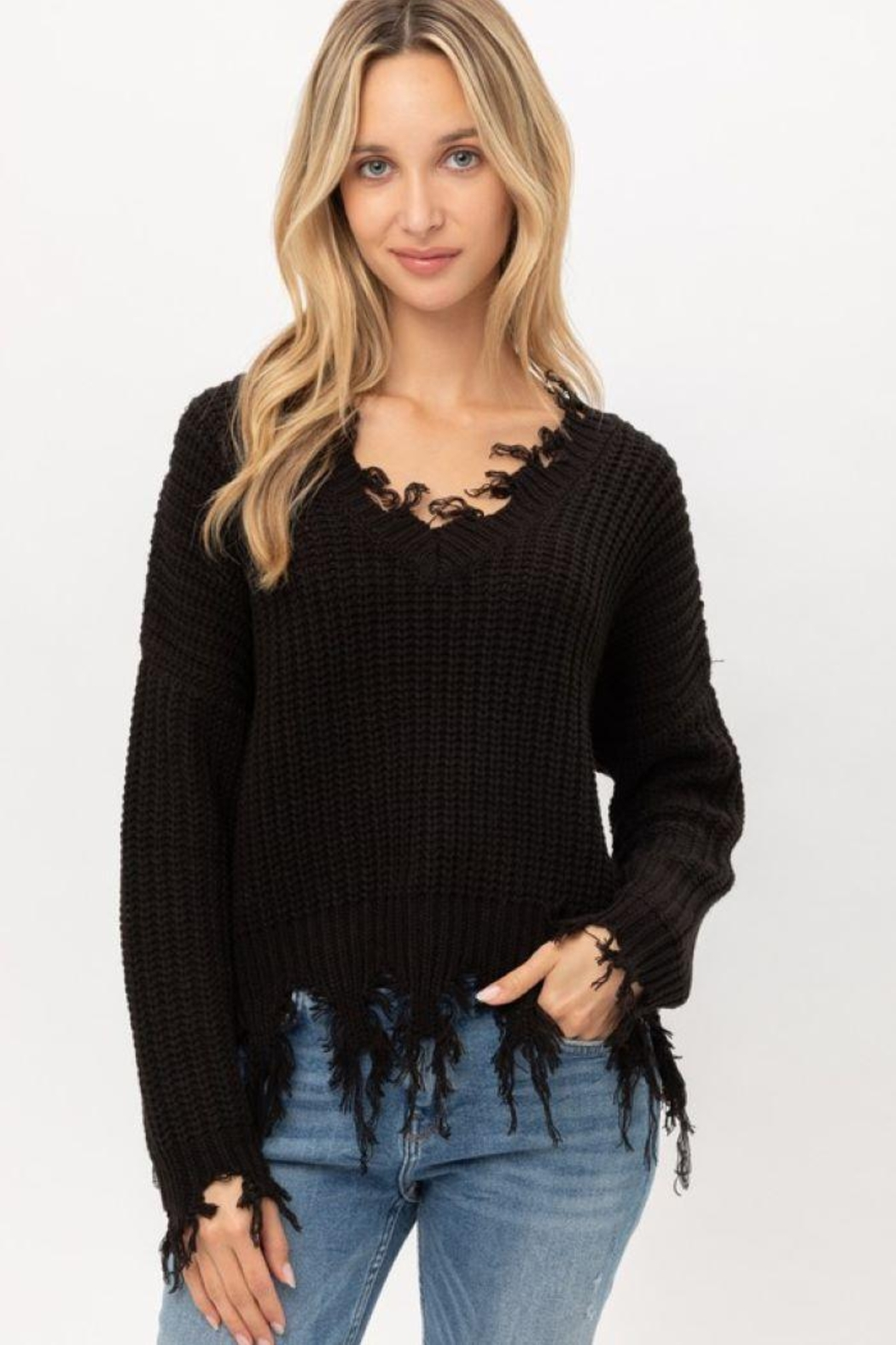 Love Tree Oversized Ripped Fringed Sweater Top - Main Image