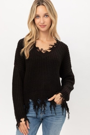 Love Tree Oversized Ripped Fringed Sweater Top - Product Mini Image