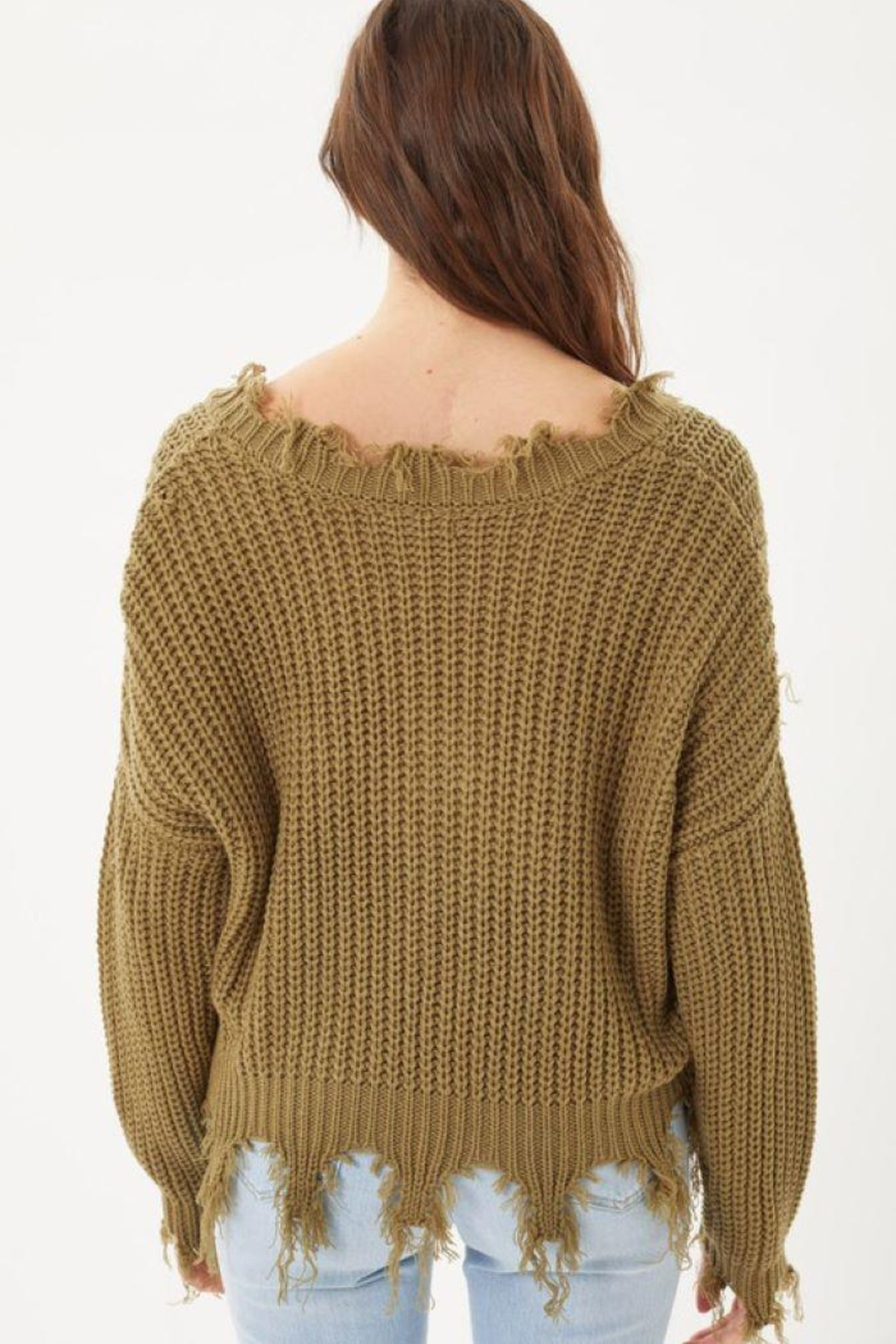 Love Tree Oversized Ripped Fringed Sweater Top - Front Full Image