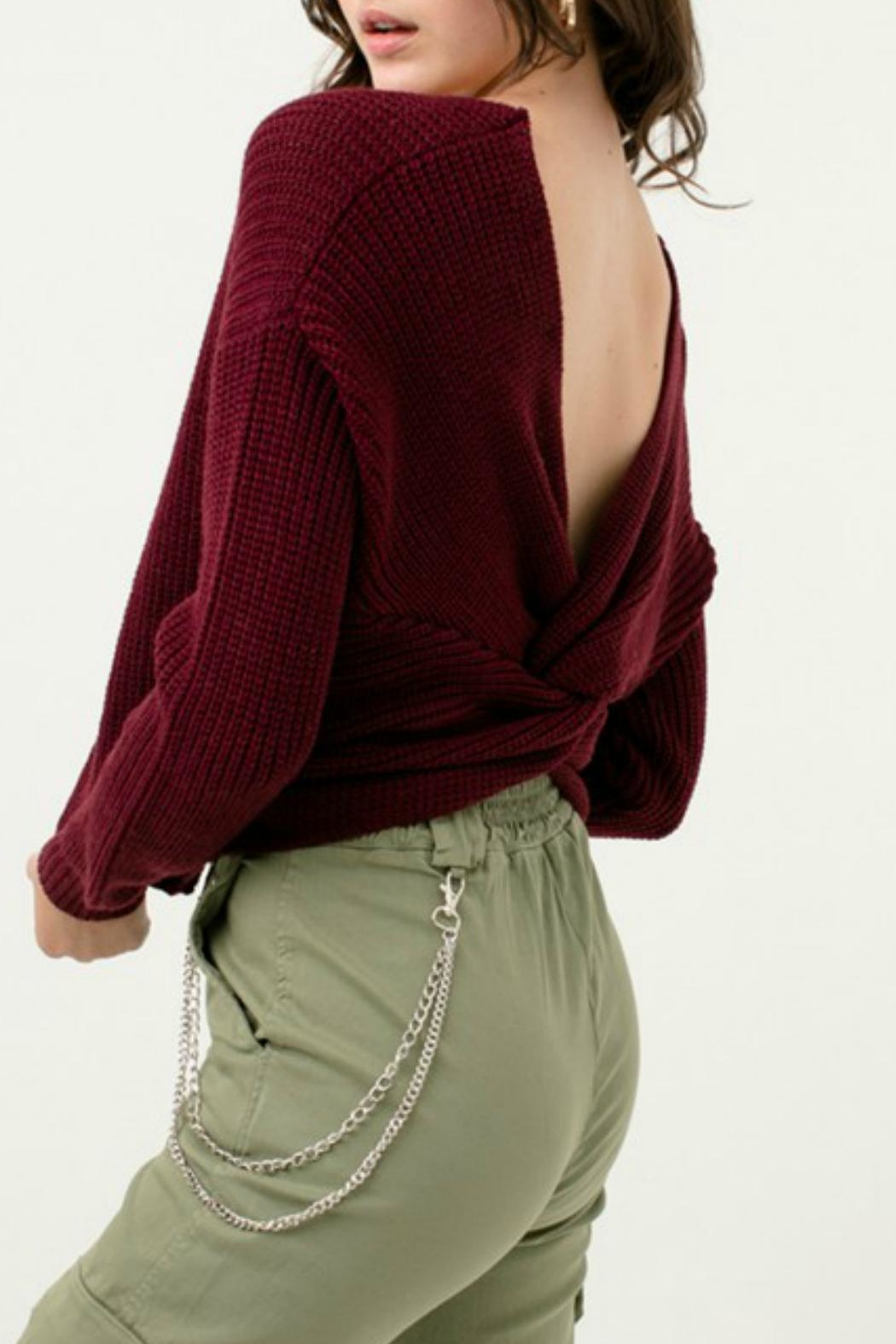 Love Tree Oversized Twisted-Back Sweater - Side Cropped Image