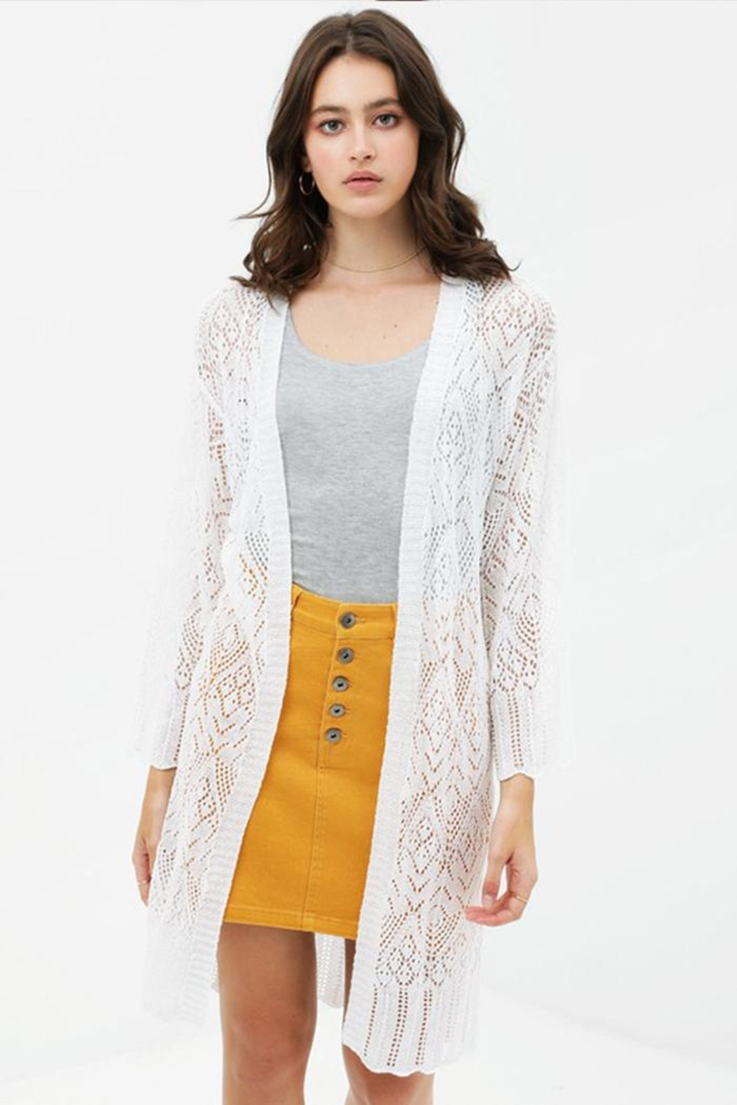 Love Tree Patterned Knit Cardigan - Front Cropped Image