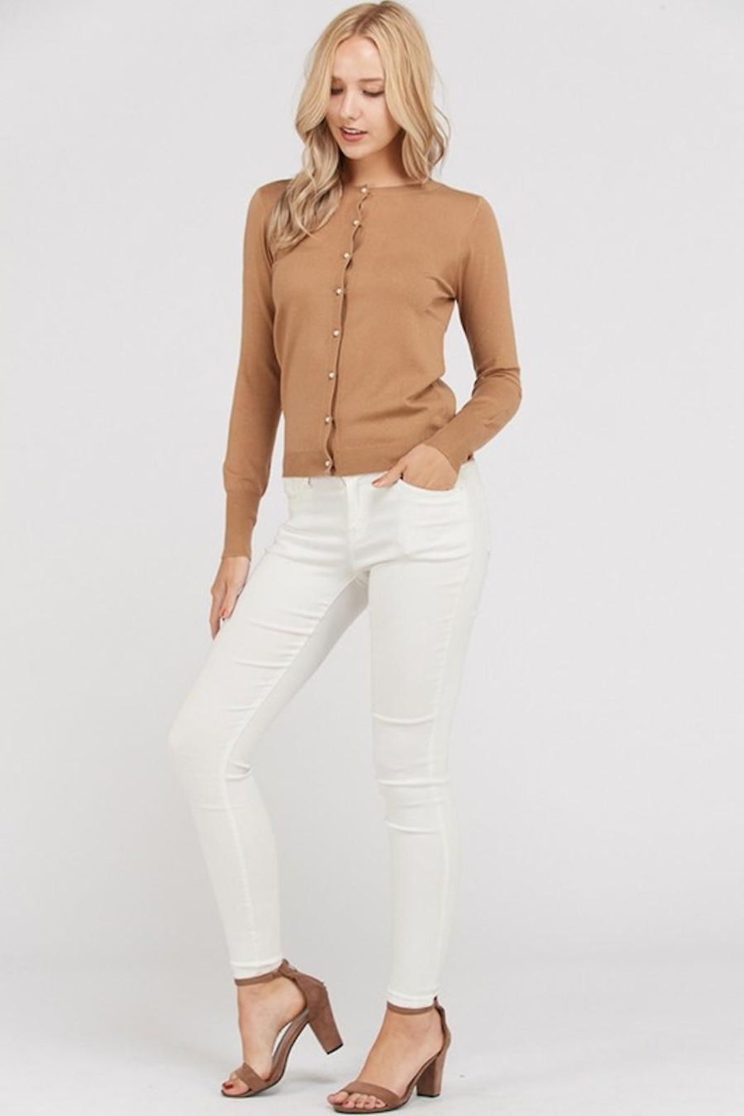 Love Tree Pearl Button Up Cardigan - Front Cropped Image