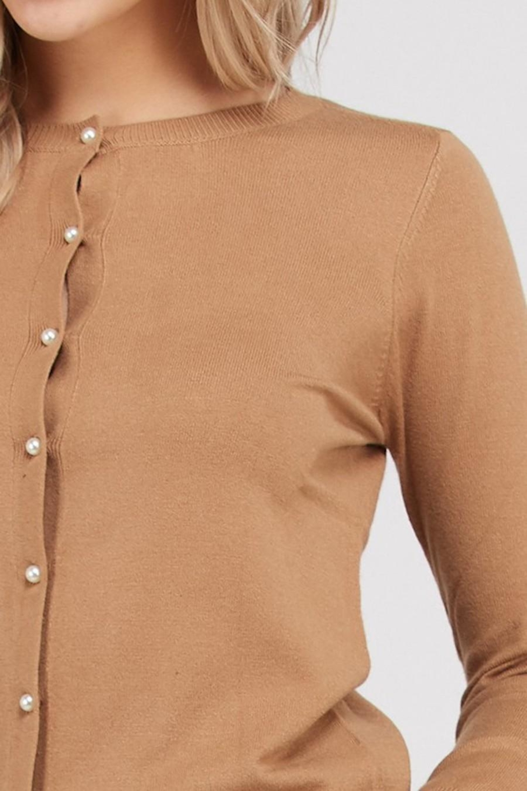 Love Tree Pearl Button Up Cardigan - Front Full Image