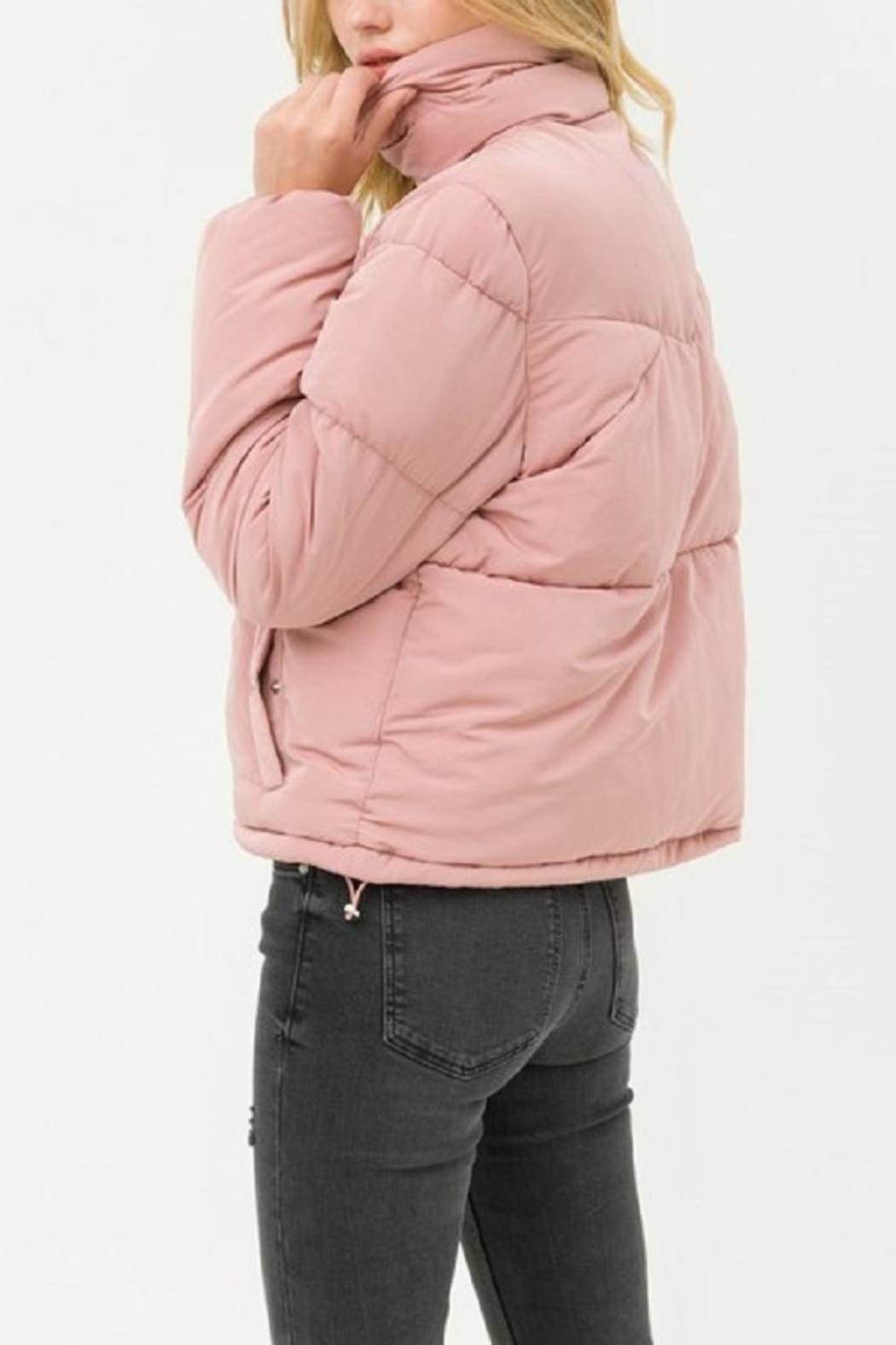 Love Tree Pink Puffer Jacket - Side Cropped Image