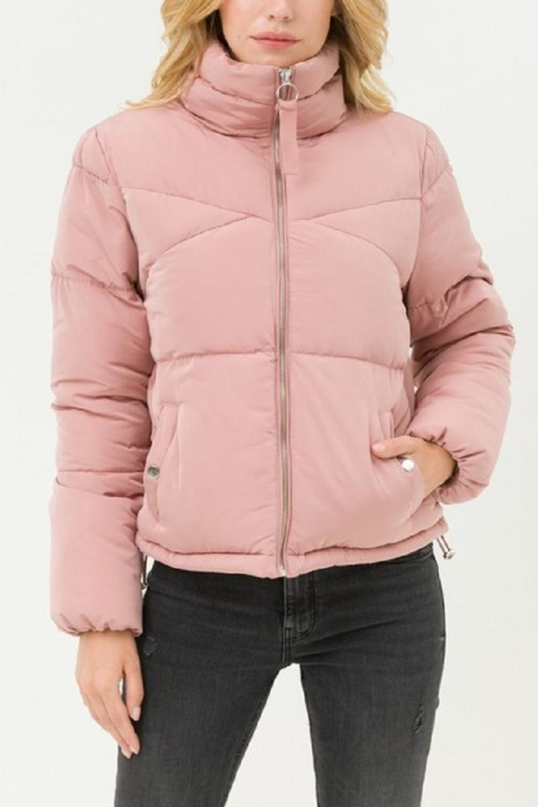 Love Tree Pink Puffer Jacket - Front Full Image