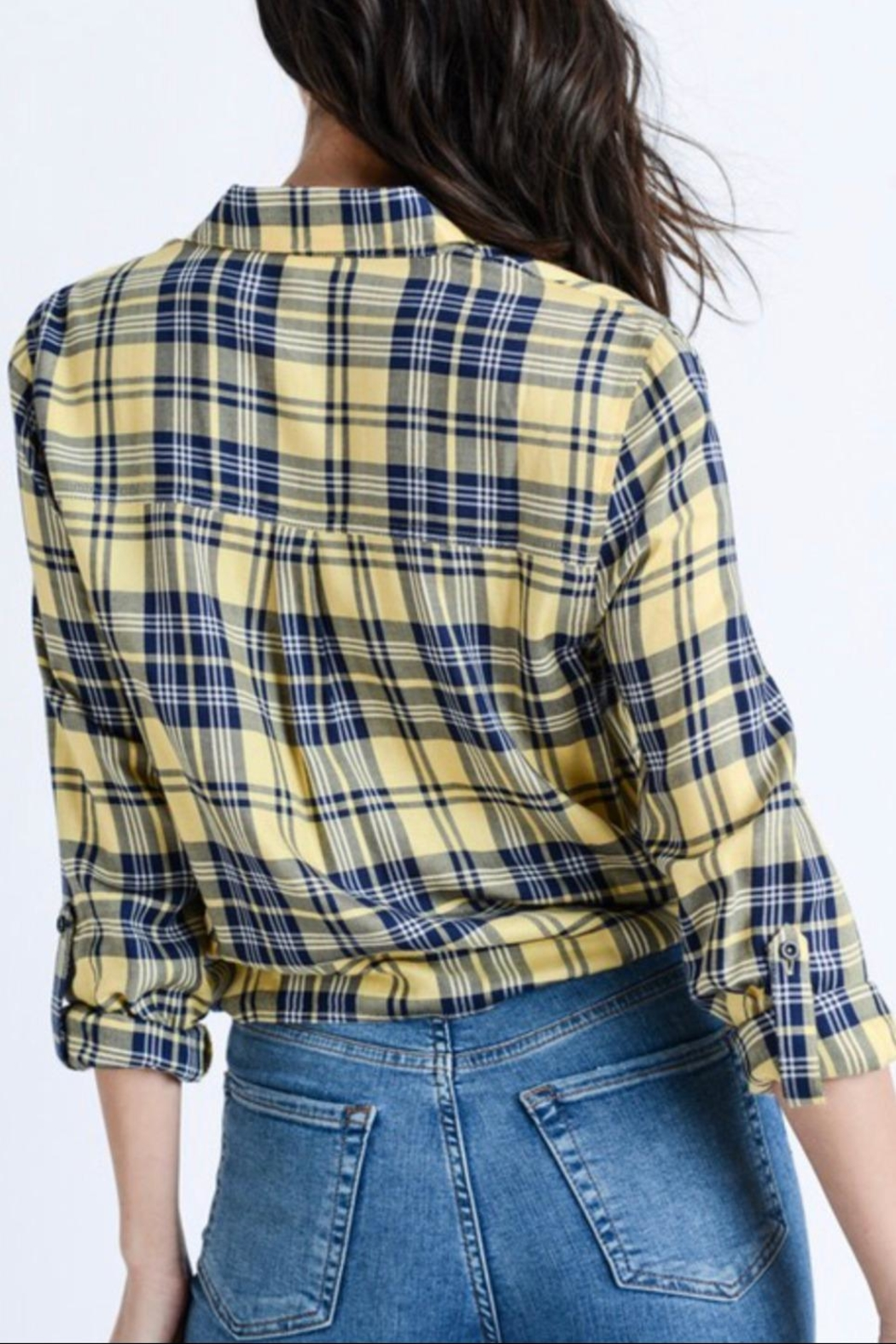 Love Tree Plaid Button Down - Side Cropped Image