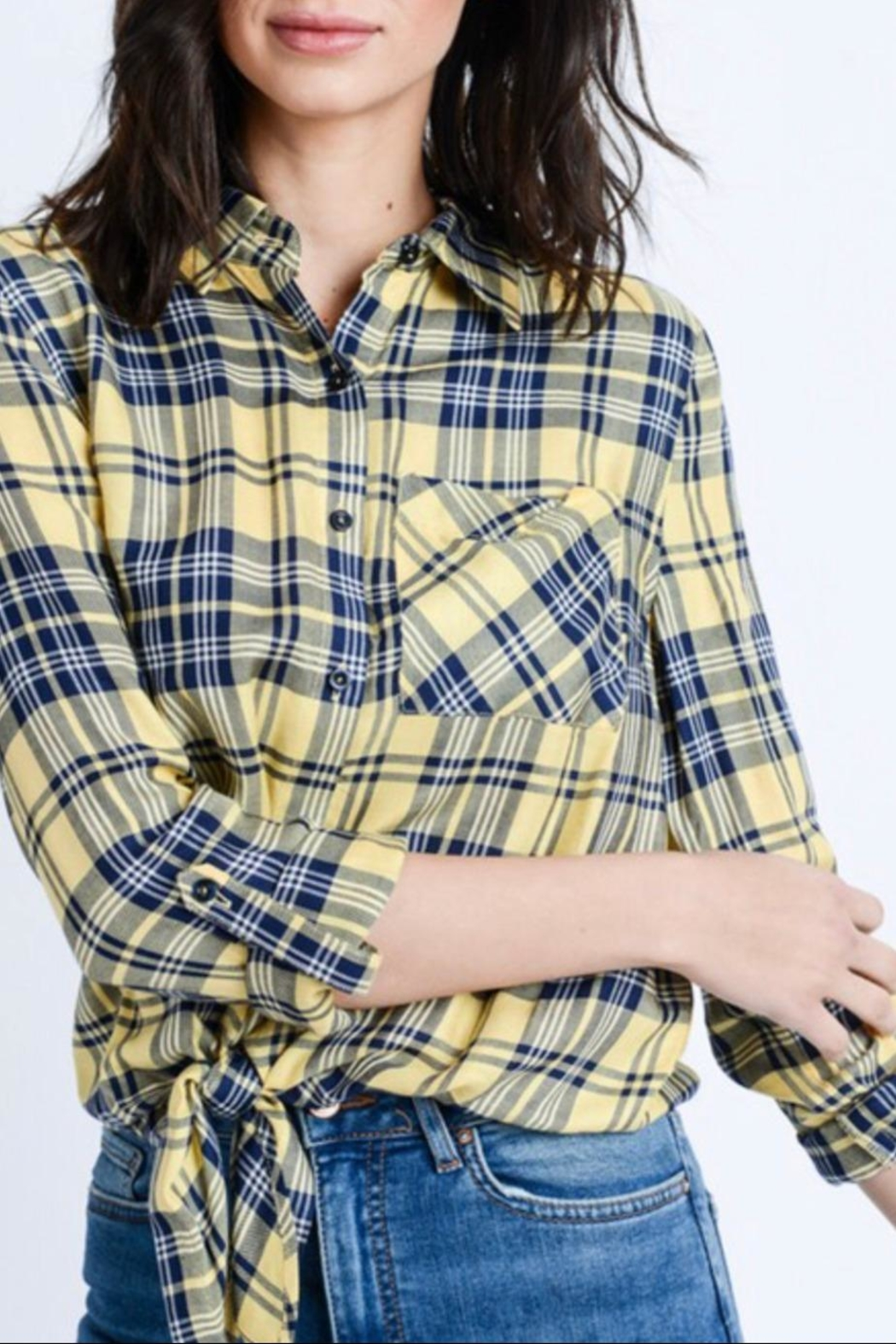 Love Tree Plaid Button Down - Front Full Image