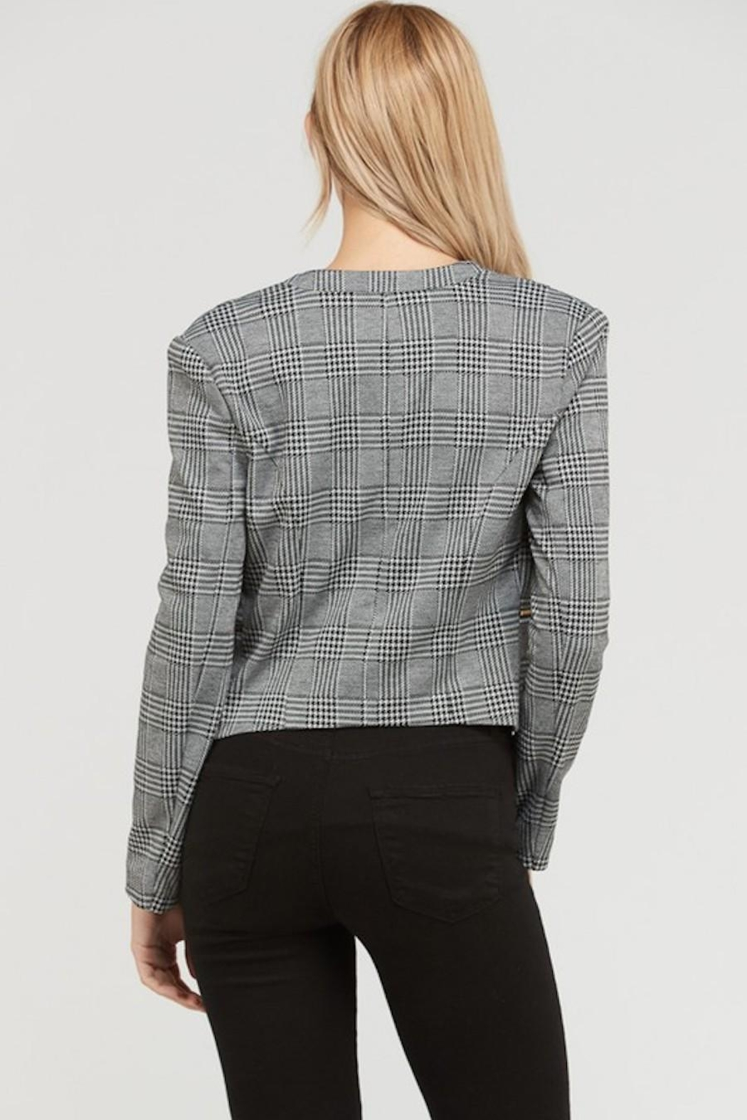 Love Tree Plaid Cropped Blazer - Side Cropped Image