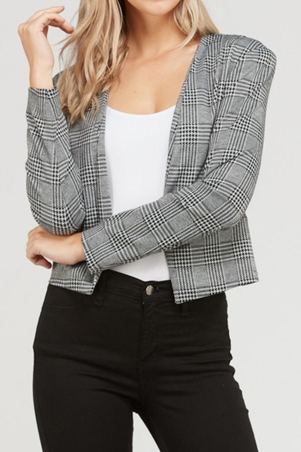 Love Tree Plaid Cropped Blazer - Front Cropped Image