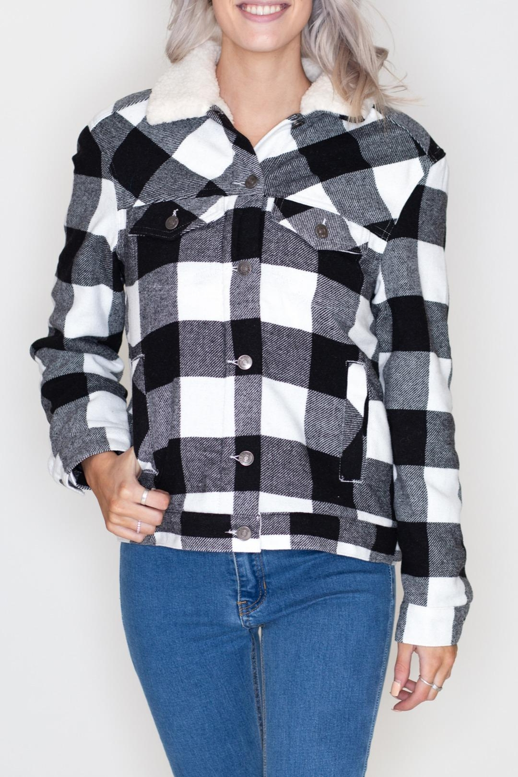 Love Tree Plaid Jacket - Front Cropped Image