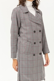 Love Tree Plaid Trench Coat - Other