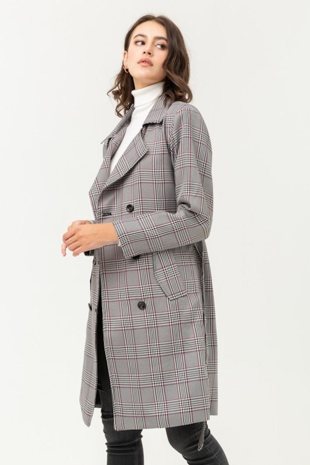 Love Tree Plaid Trench Coat - Back Cropped Image
