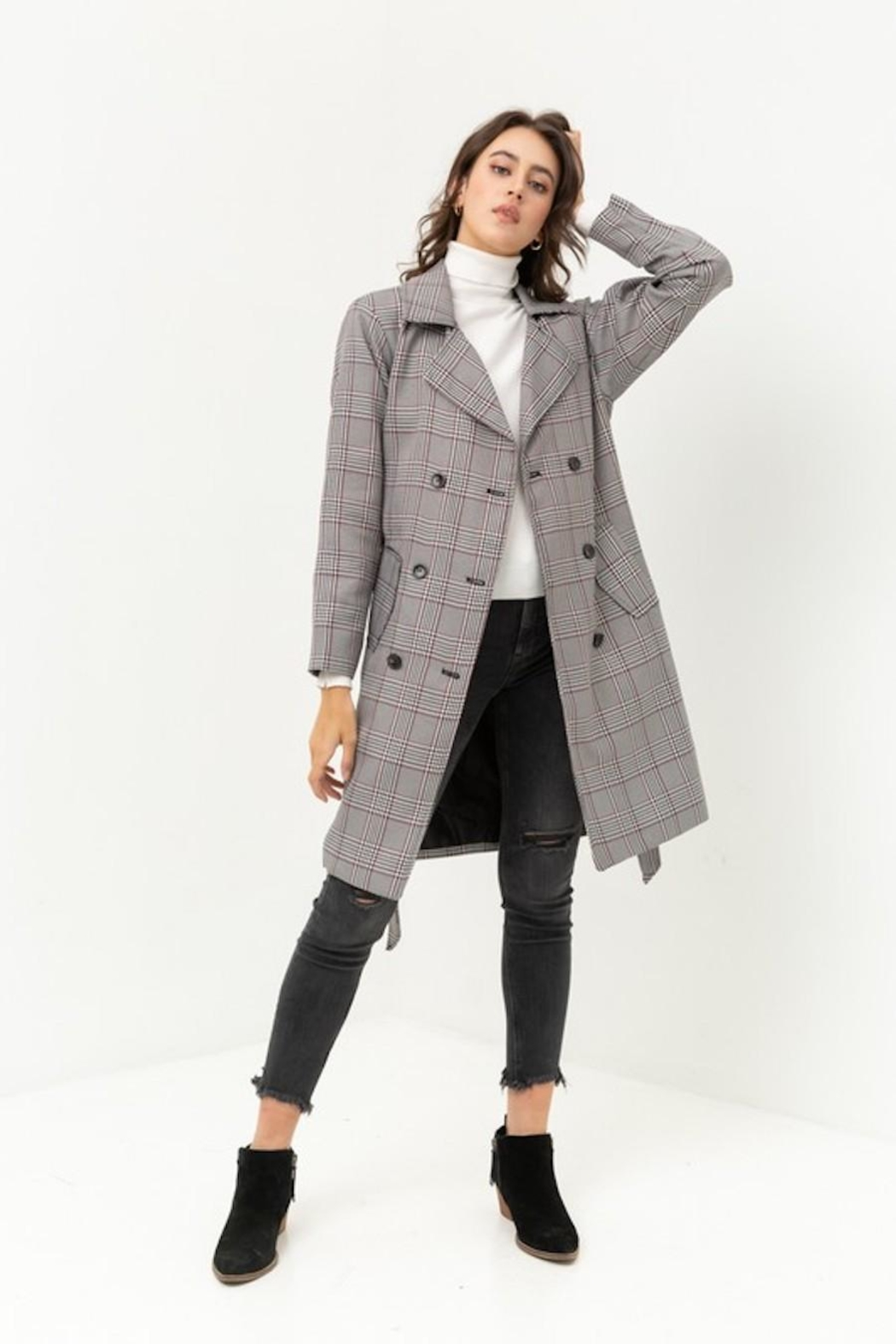 Love Tree Plaid Trench Coat - Main Image