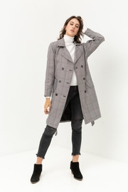 Love Tree Plaid Trench Coat - Front cropped