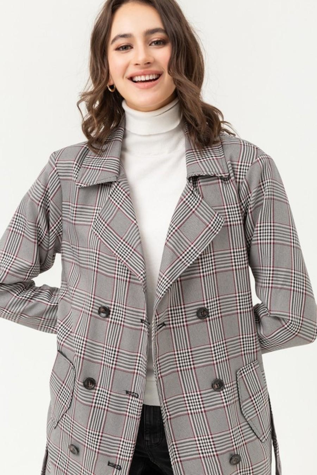 Love Tree Plaid Trench Coat - Front Full Image