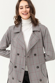 Love Tree Plaid Trench Coat - Front full body