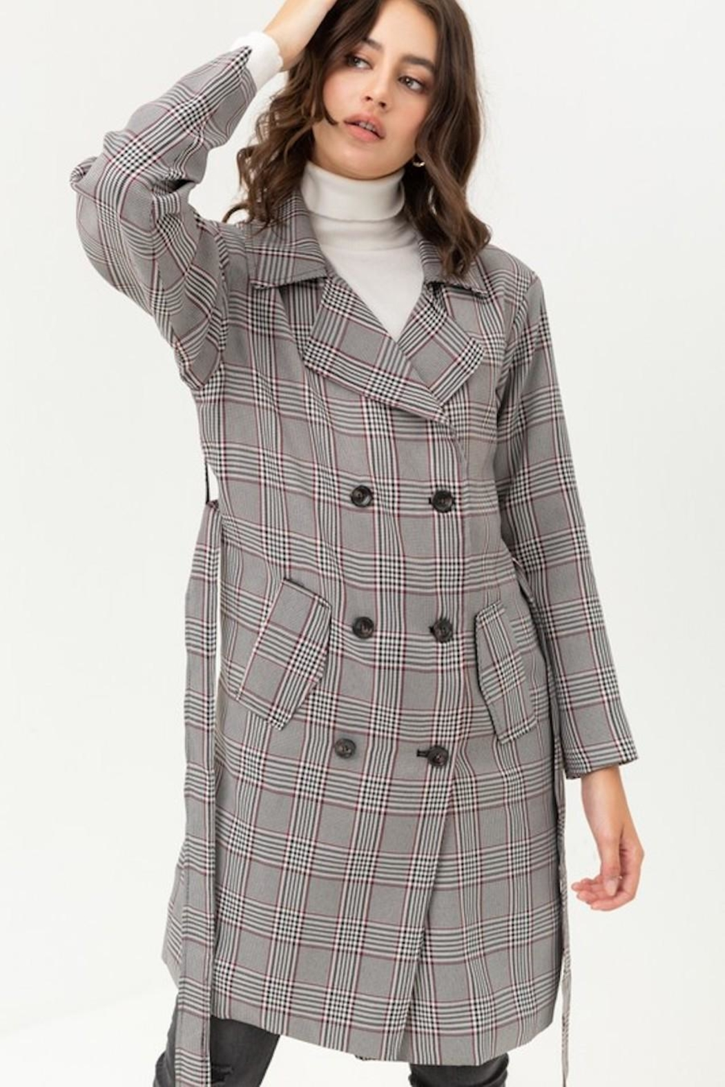 Love Tree Plaid Trench Coat - Side Cropped Image