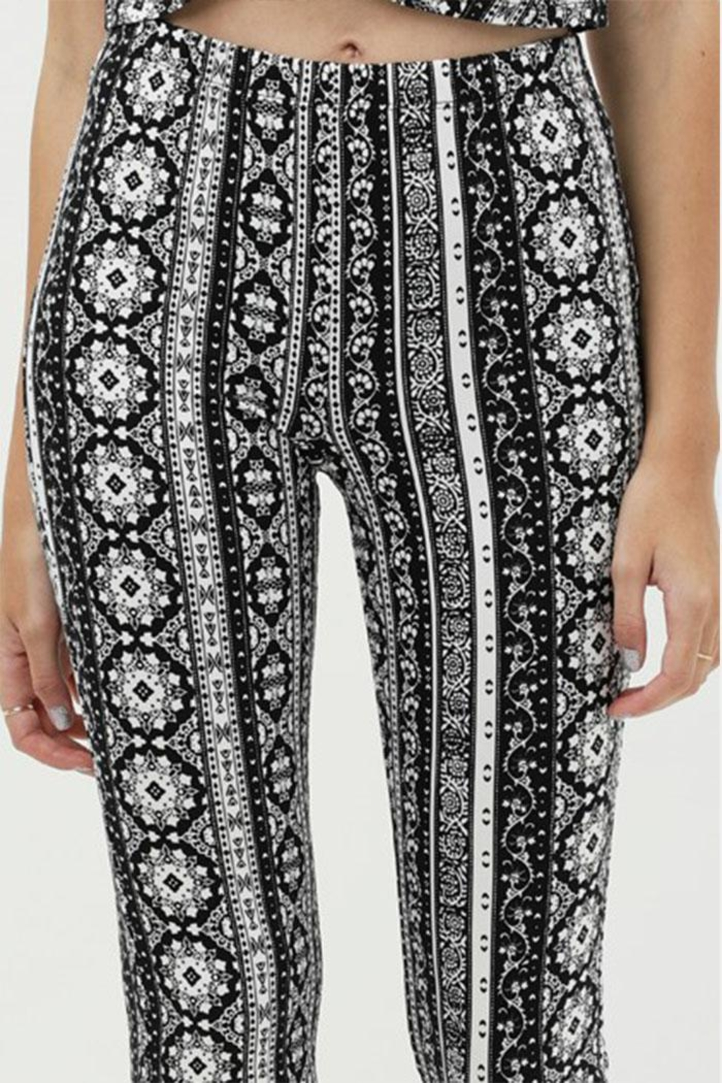 Love Tree Printed Flare Pants - Back Cropped Image