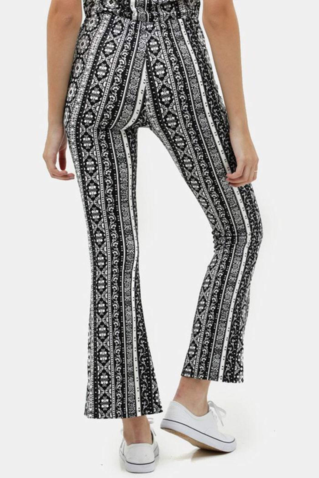Love Tree Printed Flare Pants - Side Cropped Image
