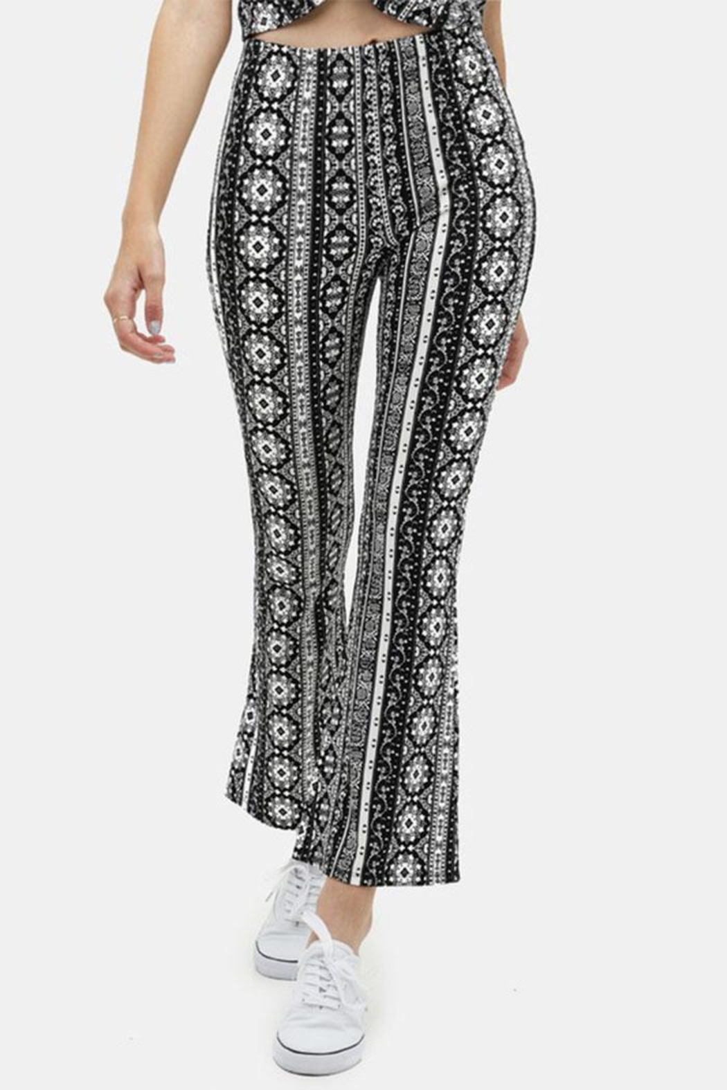 Love Tree Printed Flare Pants - Front Cropped Image