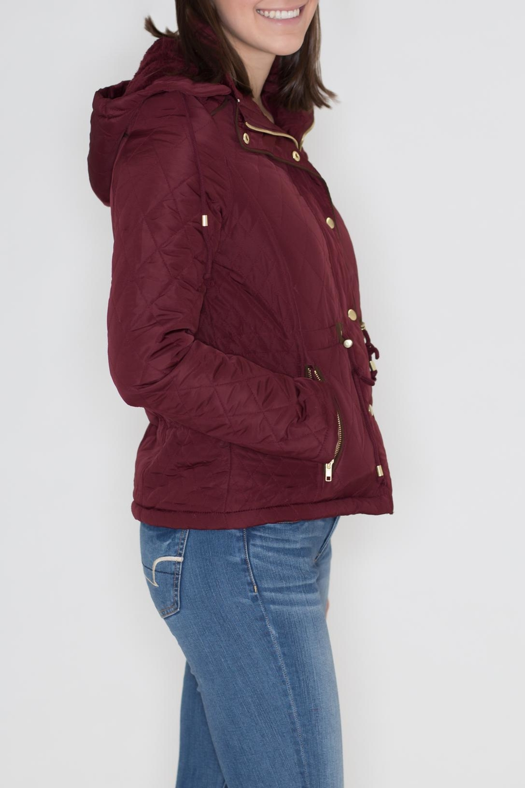 Love Tree Quilted Hoodie Jacket - Front Full Image