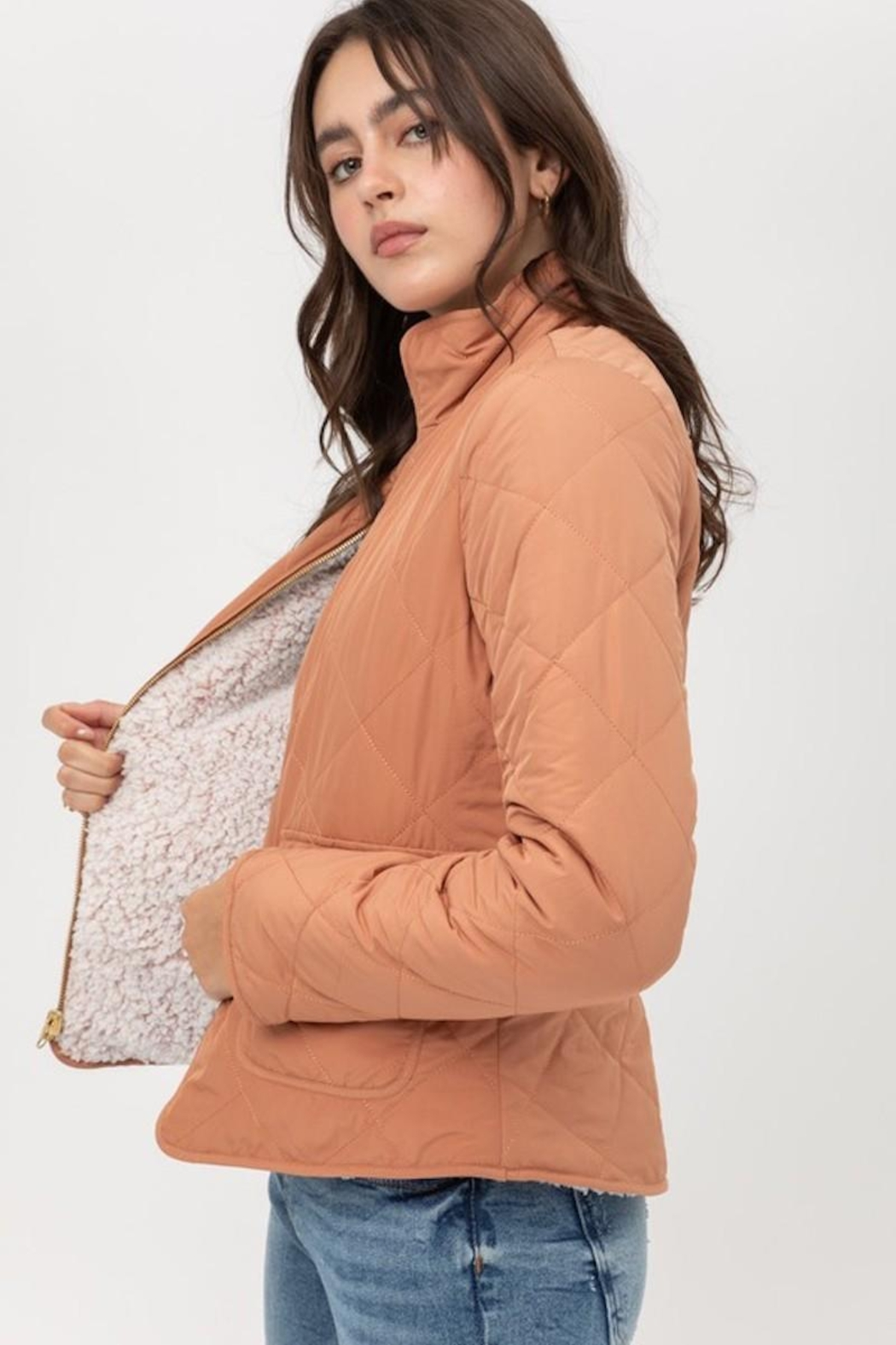 Love Tree Quilted Reversaible Jacket In Clay - Main Image