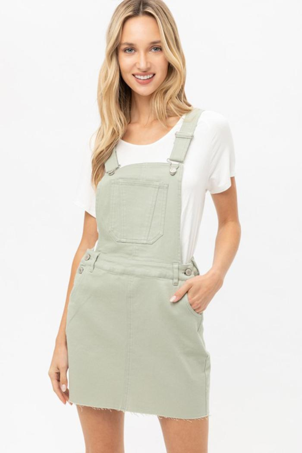 Love Tree Raw-Edge Denim Overall - Front Cropped Image