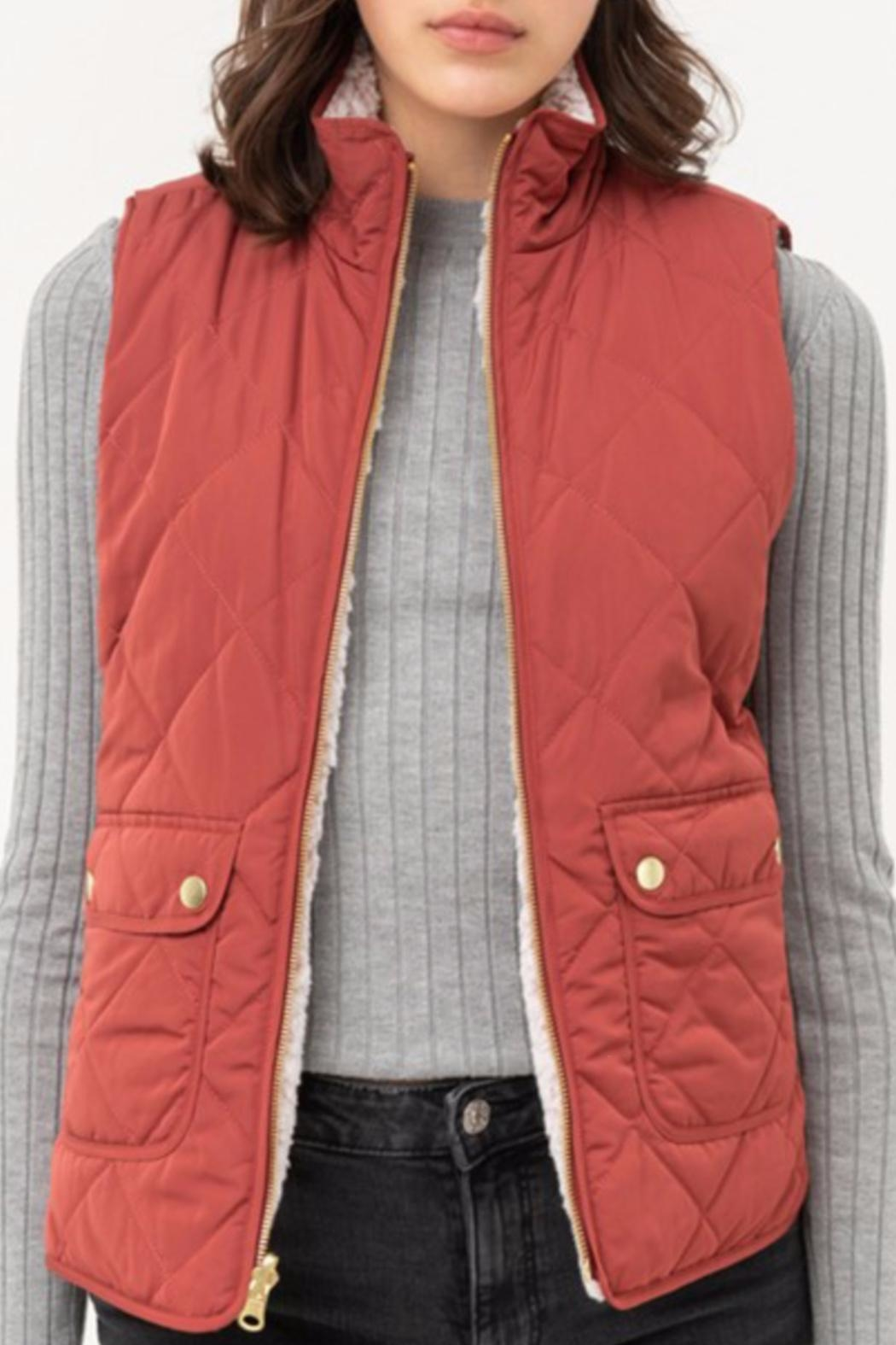 Love Tree Reversible Quilted/sherpa Vest - Main Image