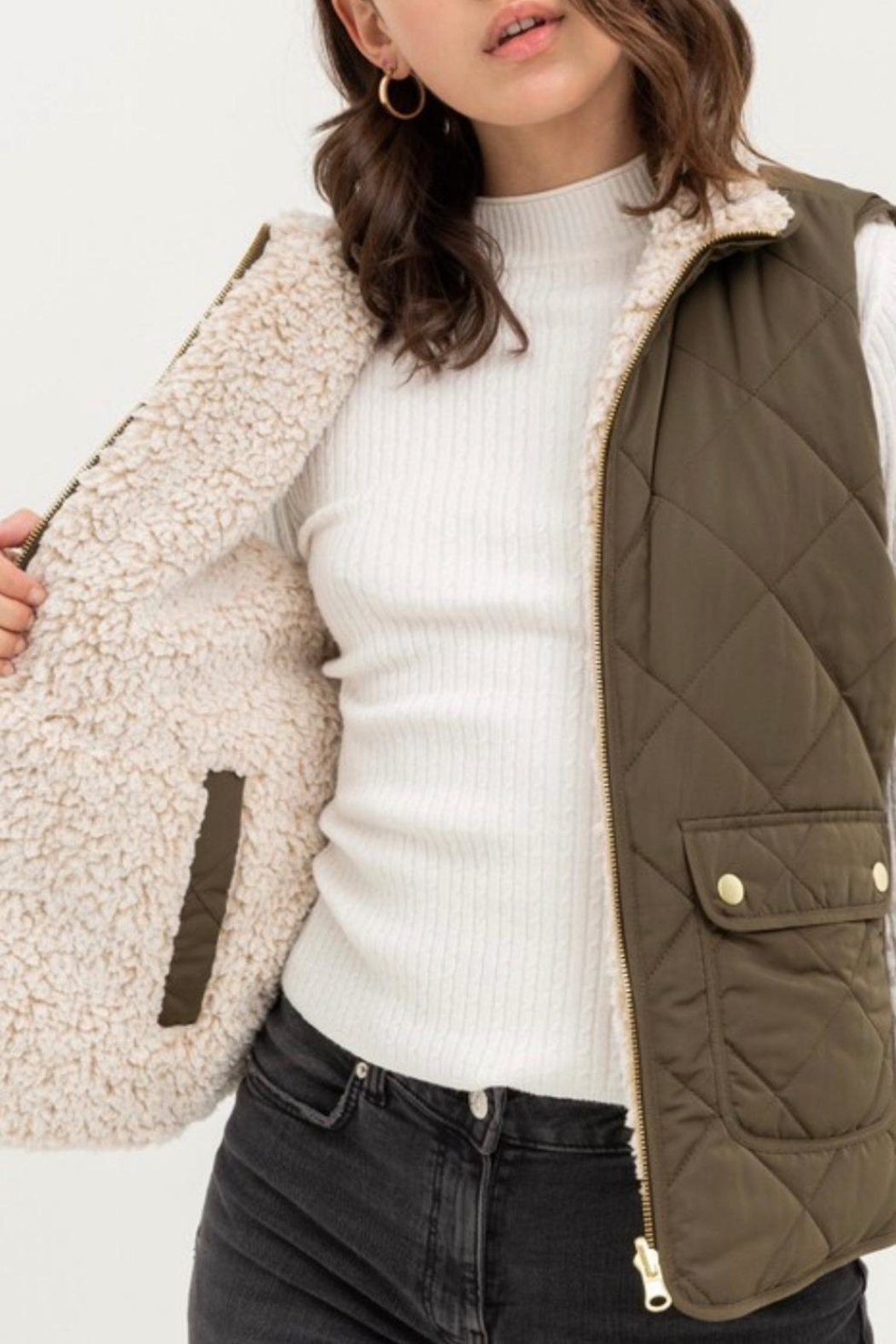 Love Tree Reversible Quilted Vest - Front Full Image