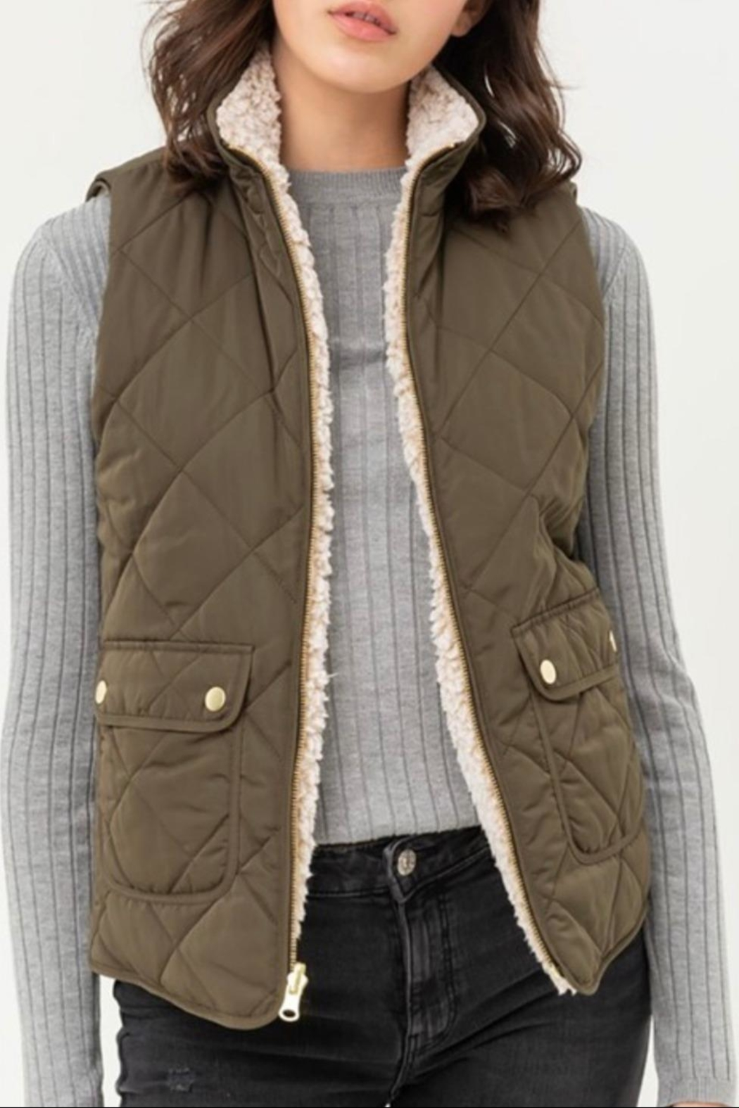 Love Tree Reversible Quilted Vest - Main Image