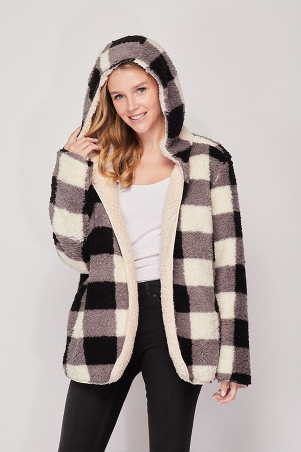 Love Tree Reversible Sherpa Jacket - Side Cropped Image